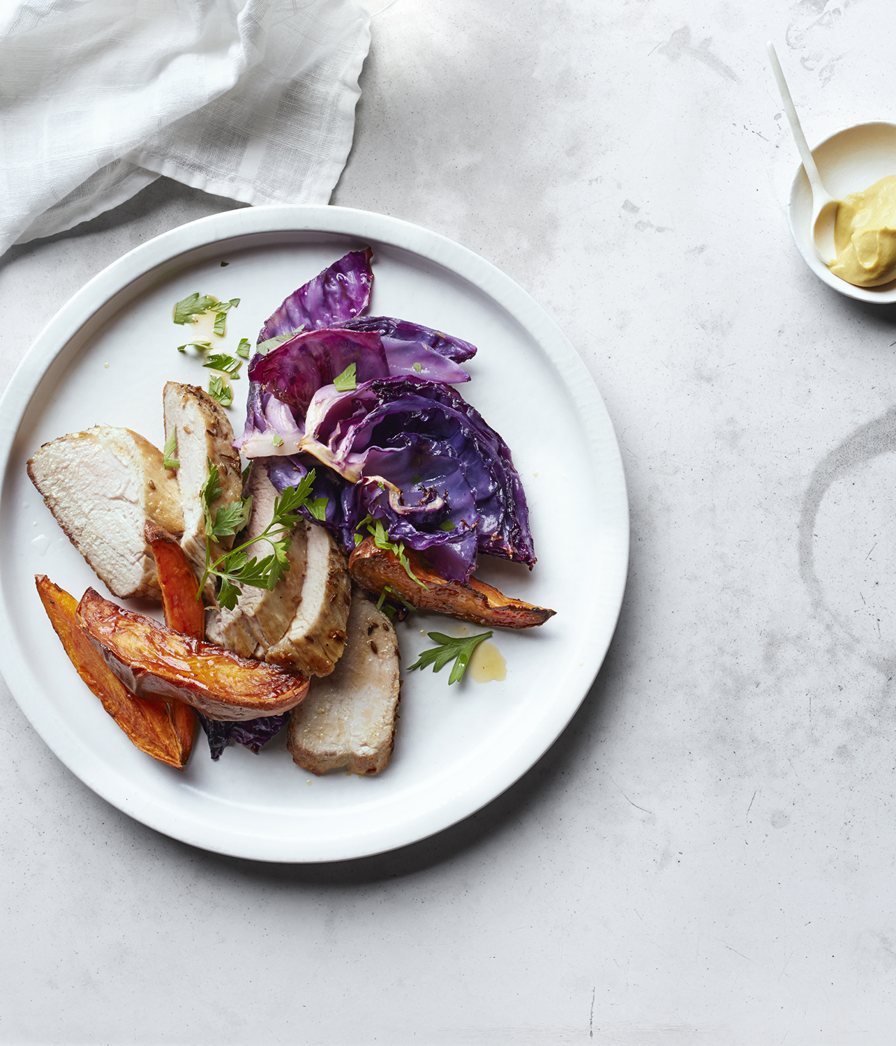 Pork Tenderloin With Roasted Sweet Potatoes and Cabbage
