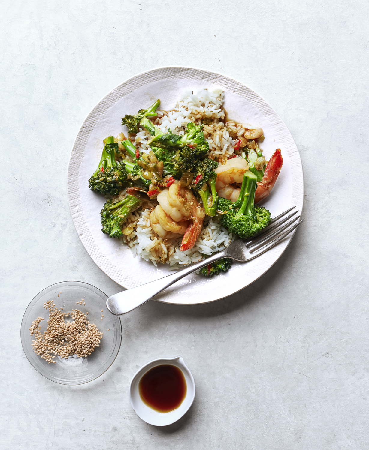 Shrimp and Broccolini Stir-Fry With Sesame Rice