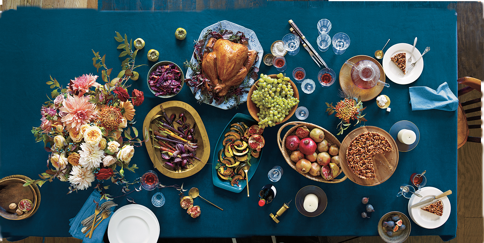 Turkey and sides on blue table