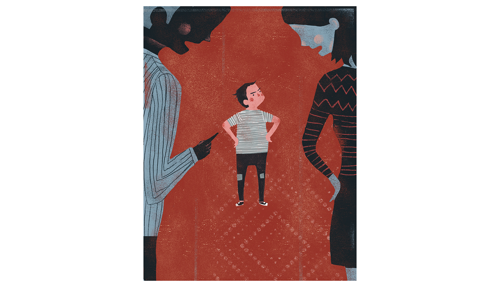 Illustration: Parents disciplining child