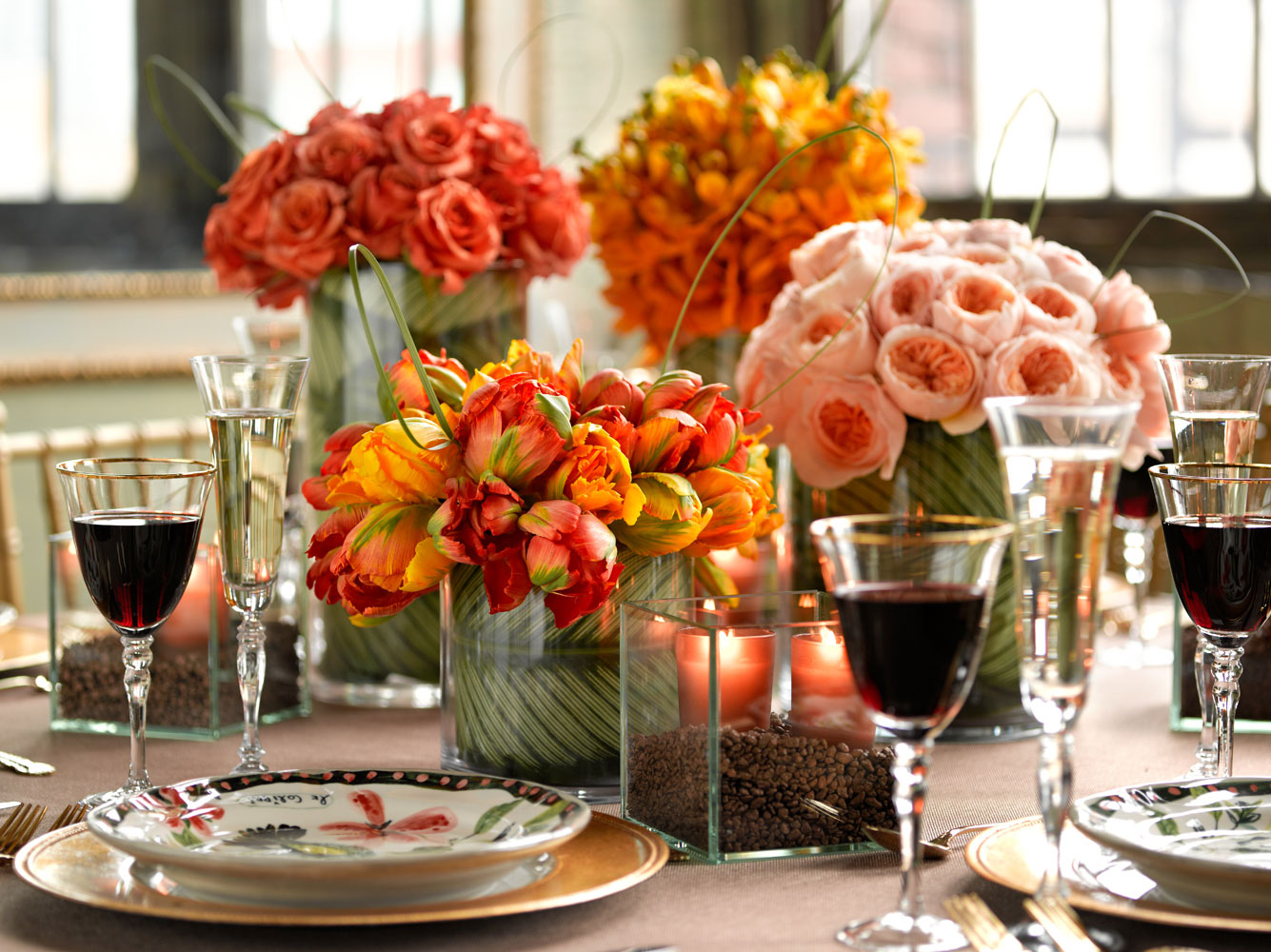 Bright inspiration flowers for dining room table centerpieces