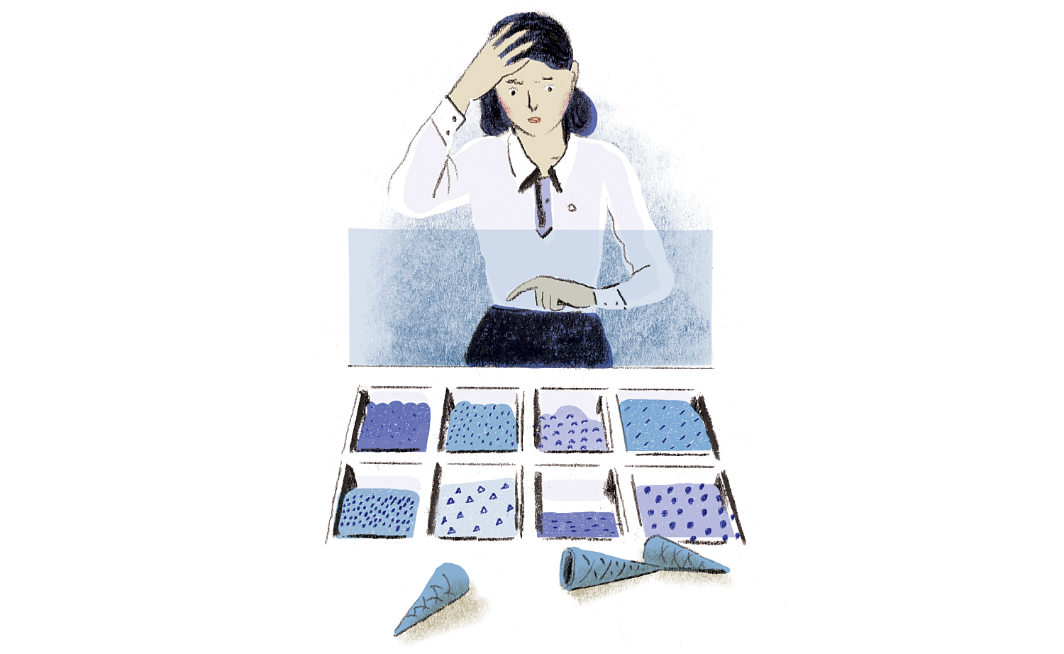 Illustration: woman trying to decide between sweets