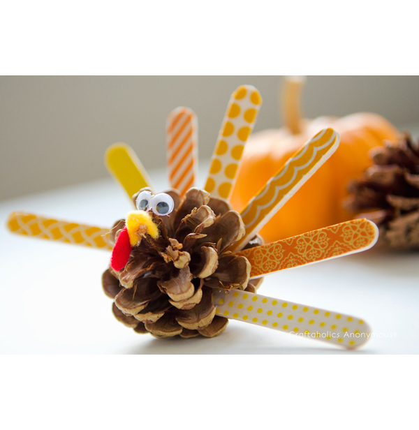 washi tape pinecone turkeys