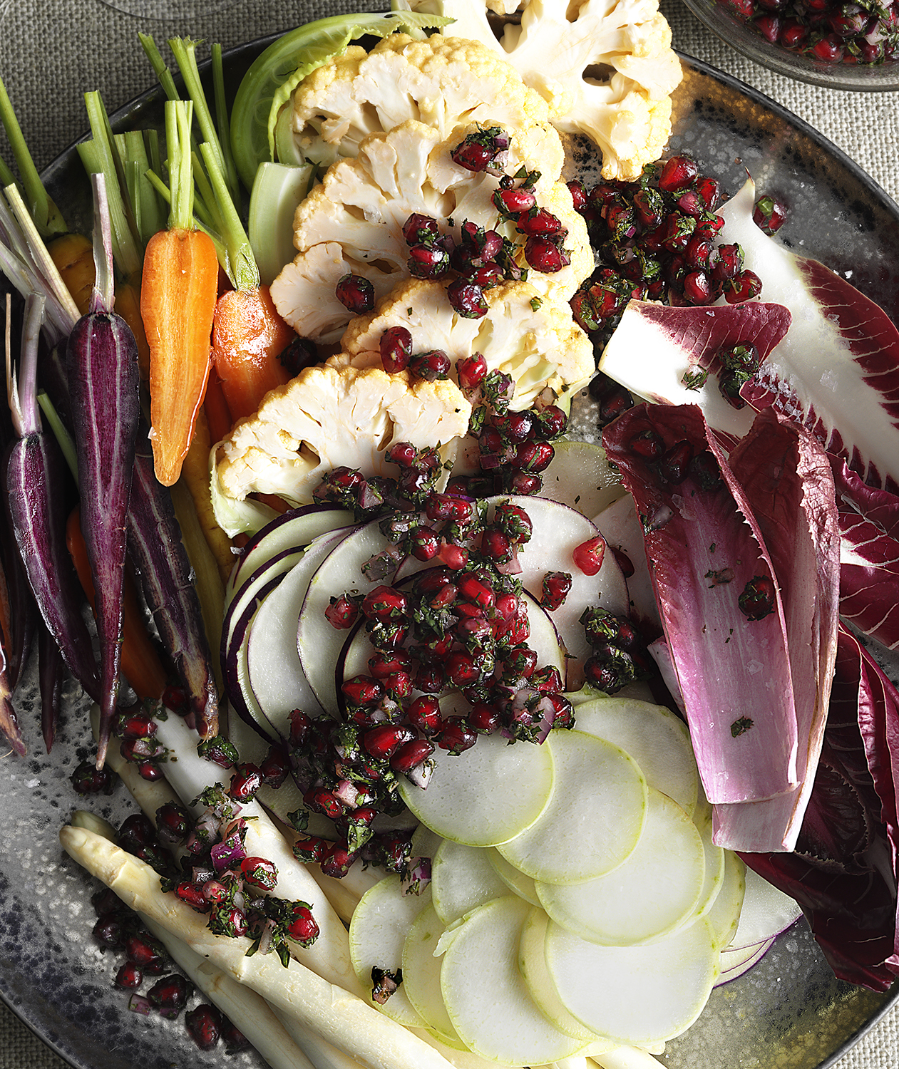 Fall Crudités with Pomegranate Relish