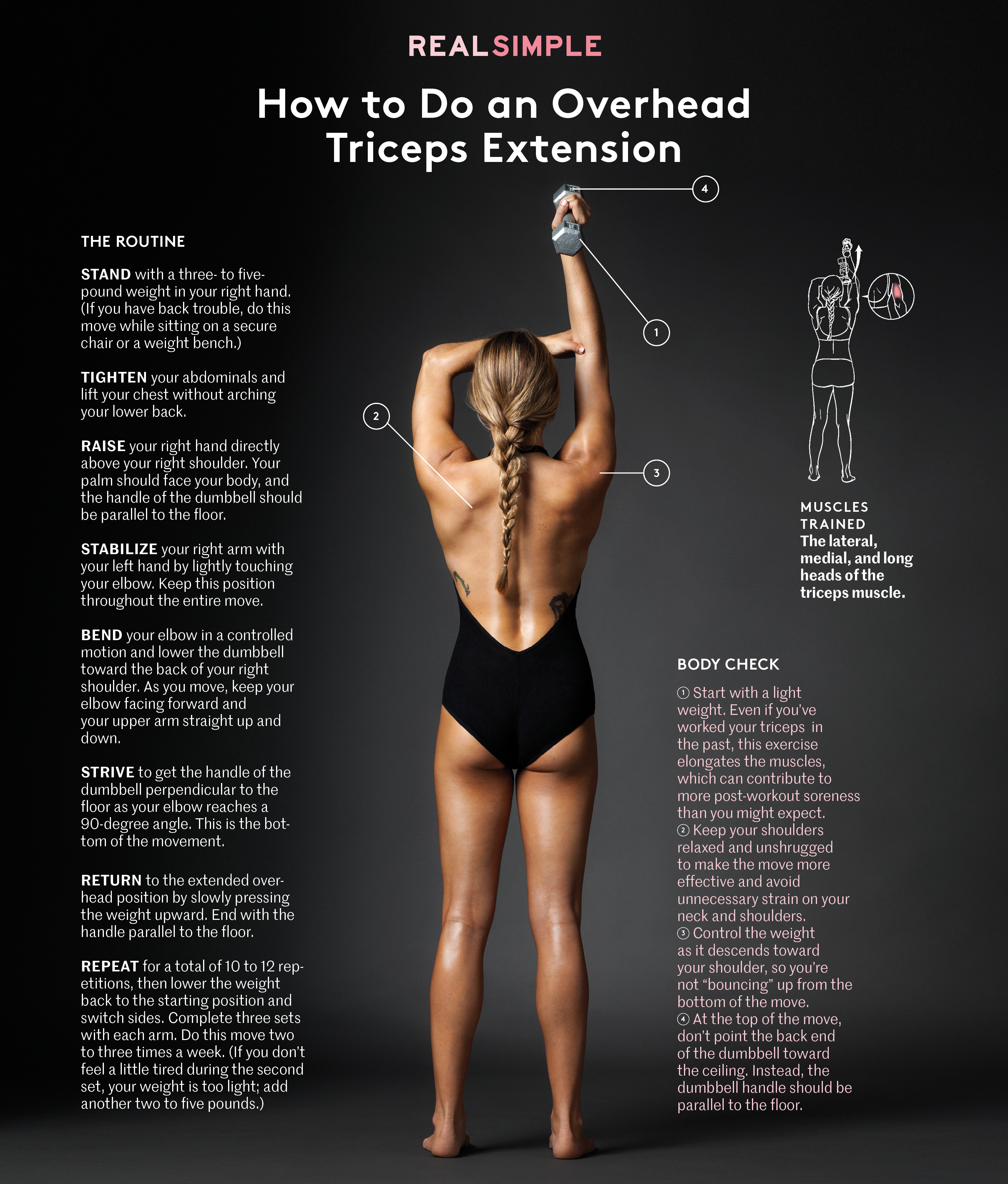 How To Do An Overhead Triceps Extension Real Simple