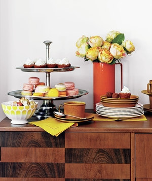 Credenza with sweets and coffee tray