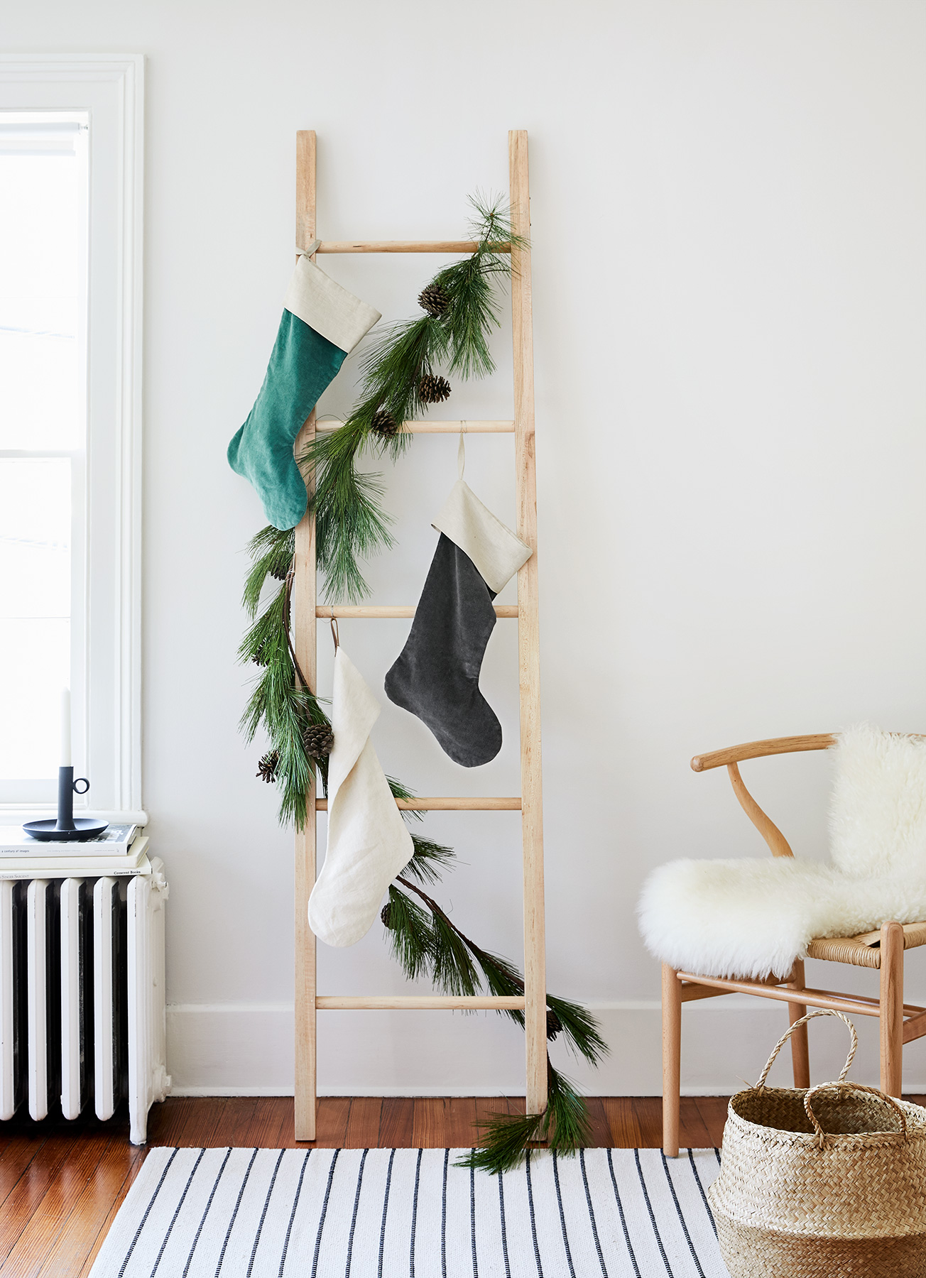 A Garland-Wrapped Ladder
