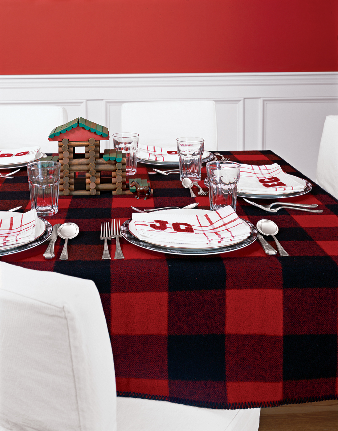 Plaid throw blanket used as a tablecloth