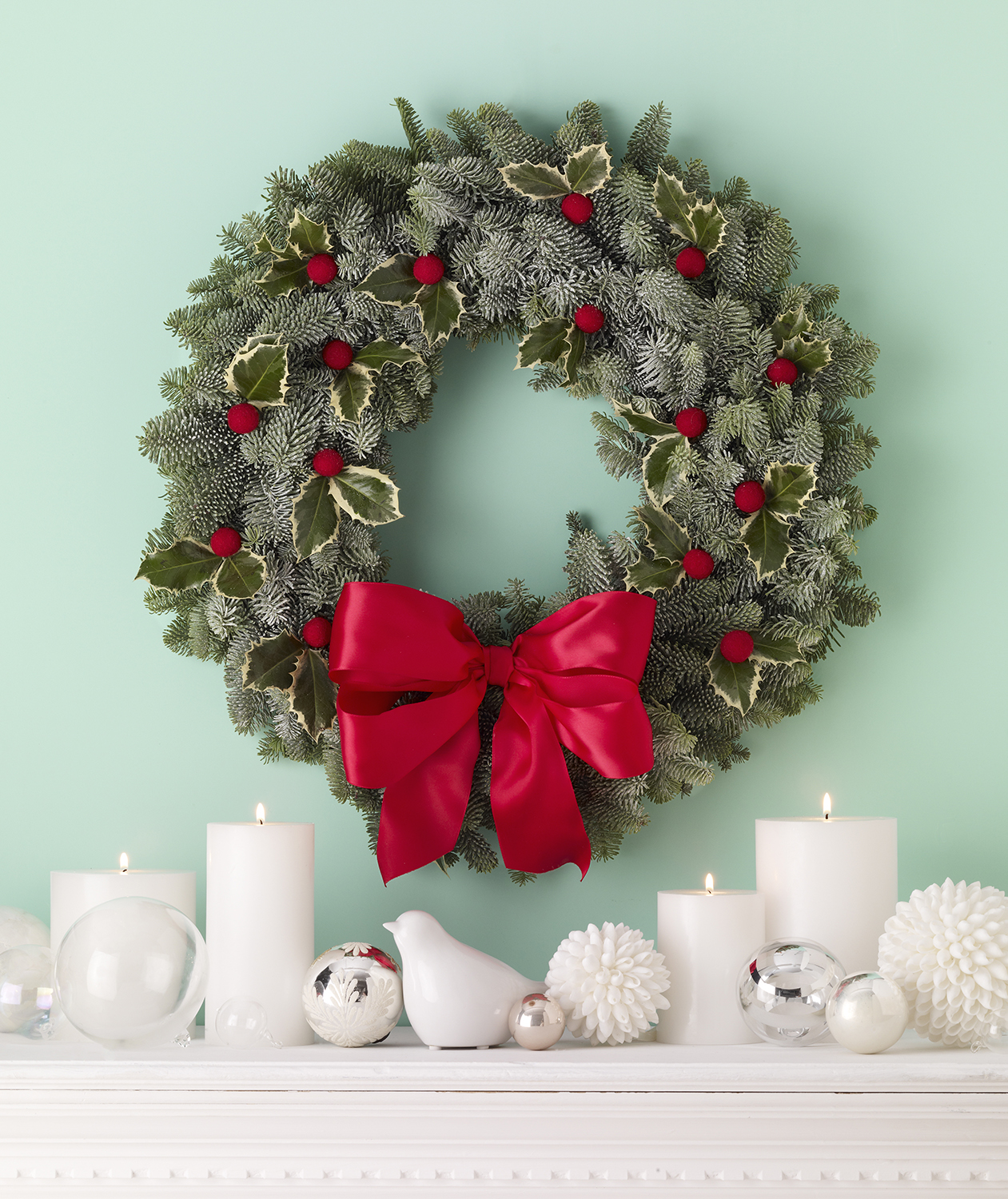 Holiday wreath over mantel