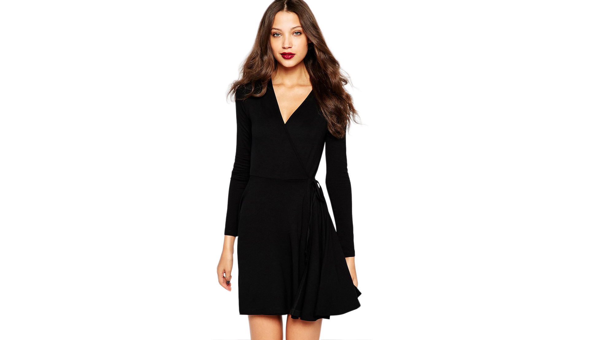 ASOS TALL Wrap Tea Dress With Long Sleeve