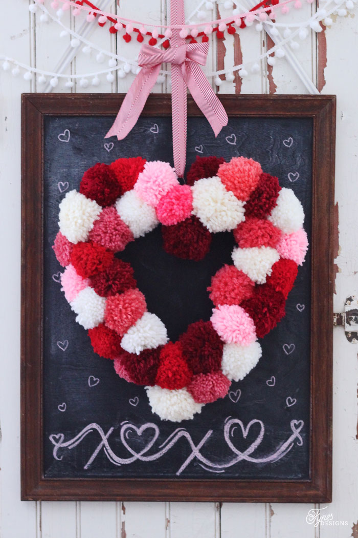 Heart-Shaped Pom-Pom Wreath