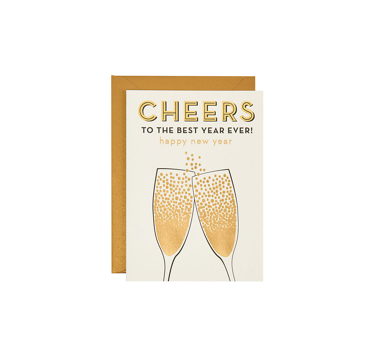 cheers champagne foil card floating pennies new years cards