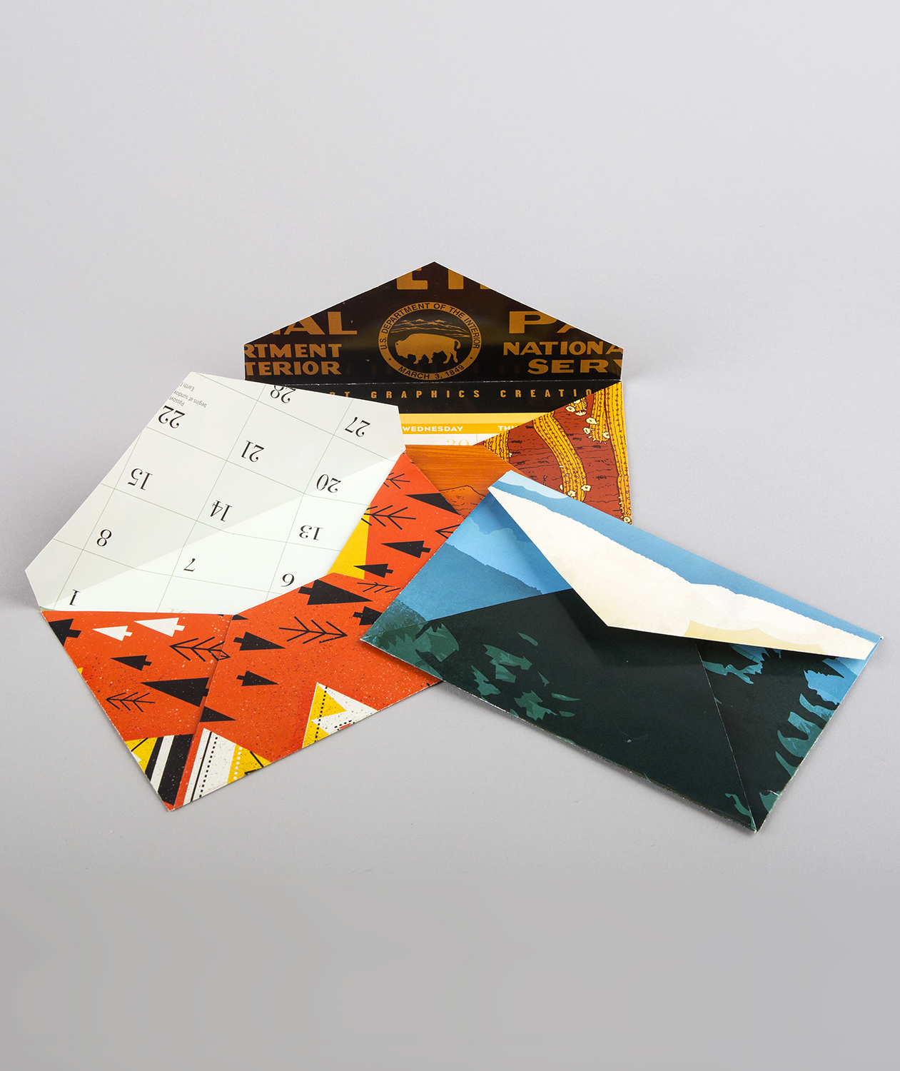 Repurposed calendars as envelopes