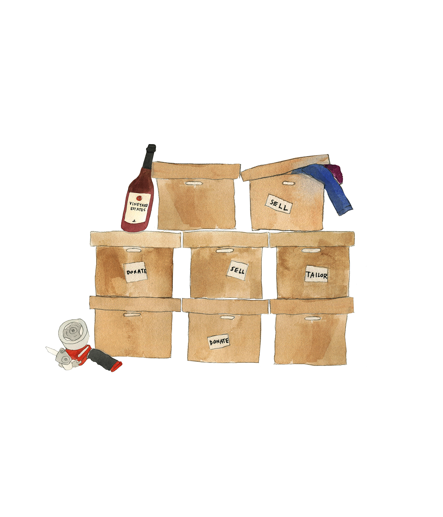 Illustration: Boxes of clothing to donate and sell