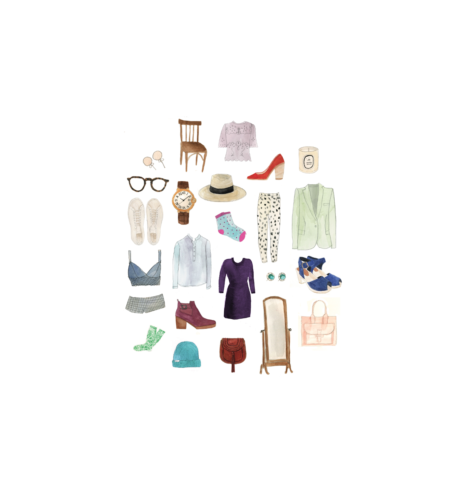 Illustration: contents of closet