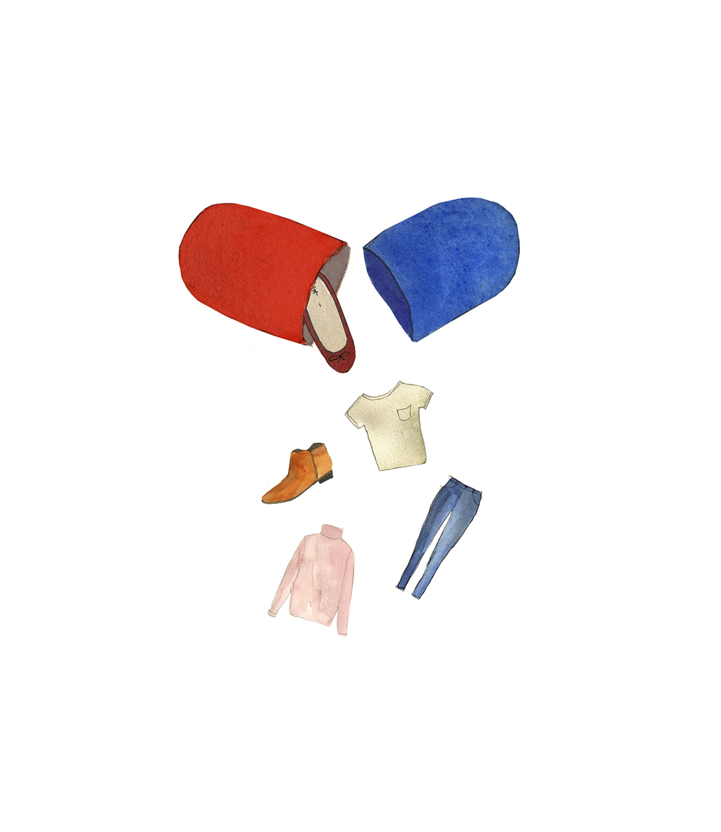 Illustration: Capsule full of clothes and shoes