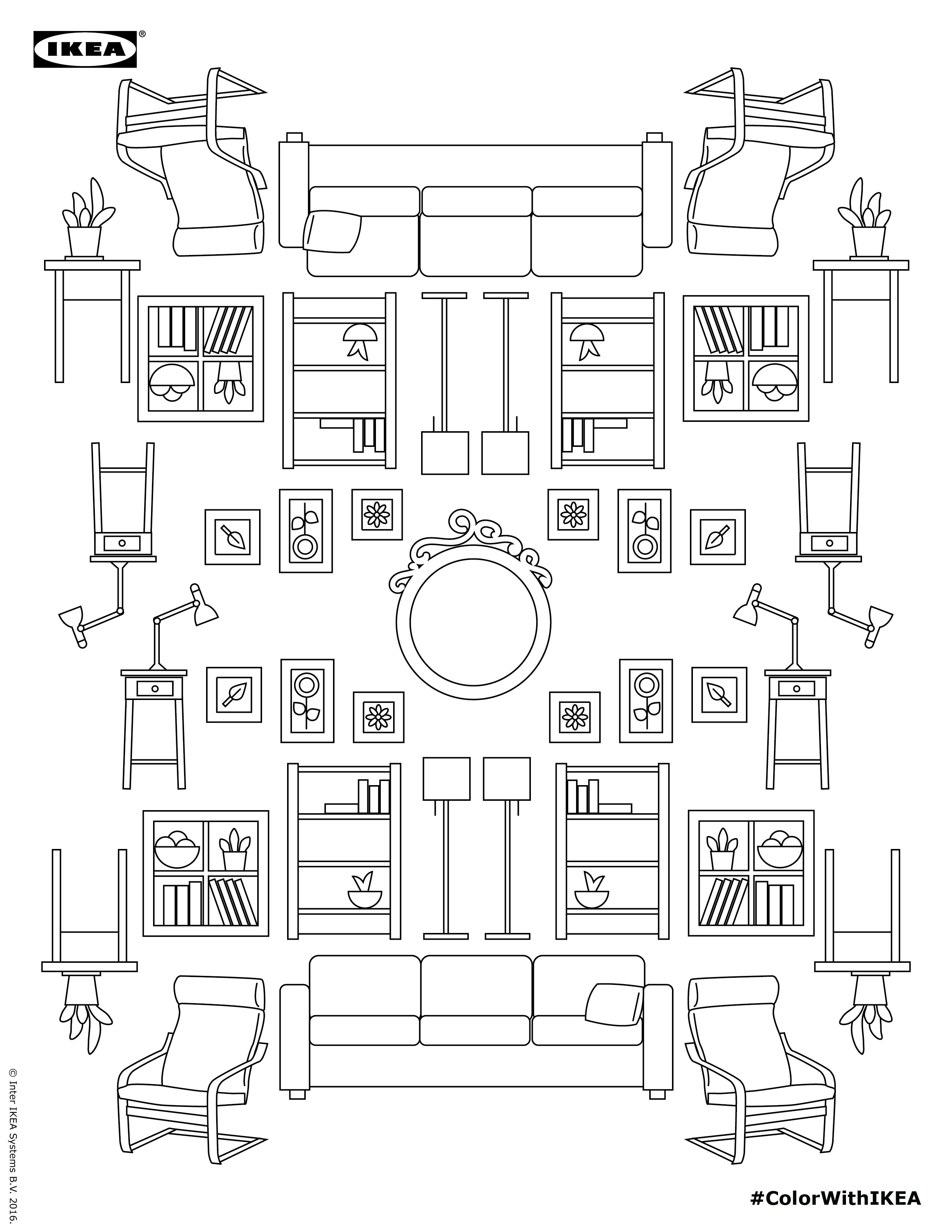 Coloring pages furniture - Ikea Coloring Book