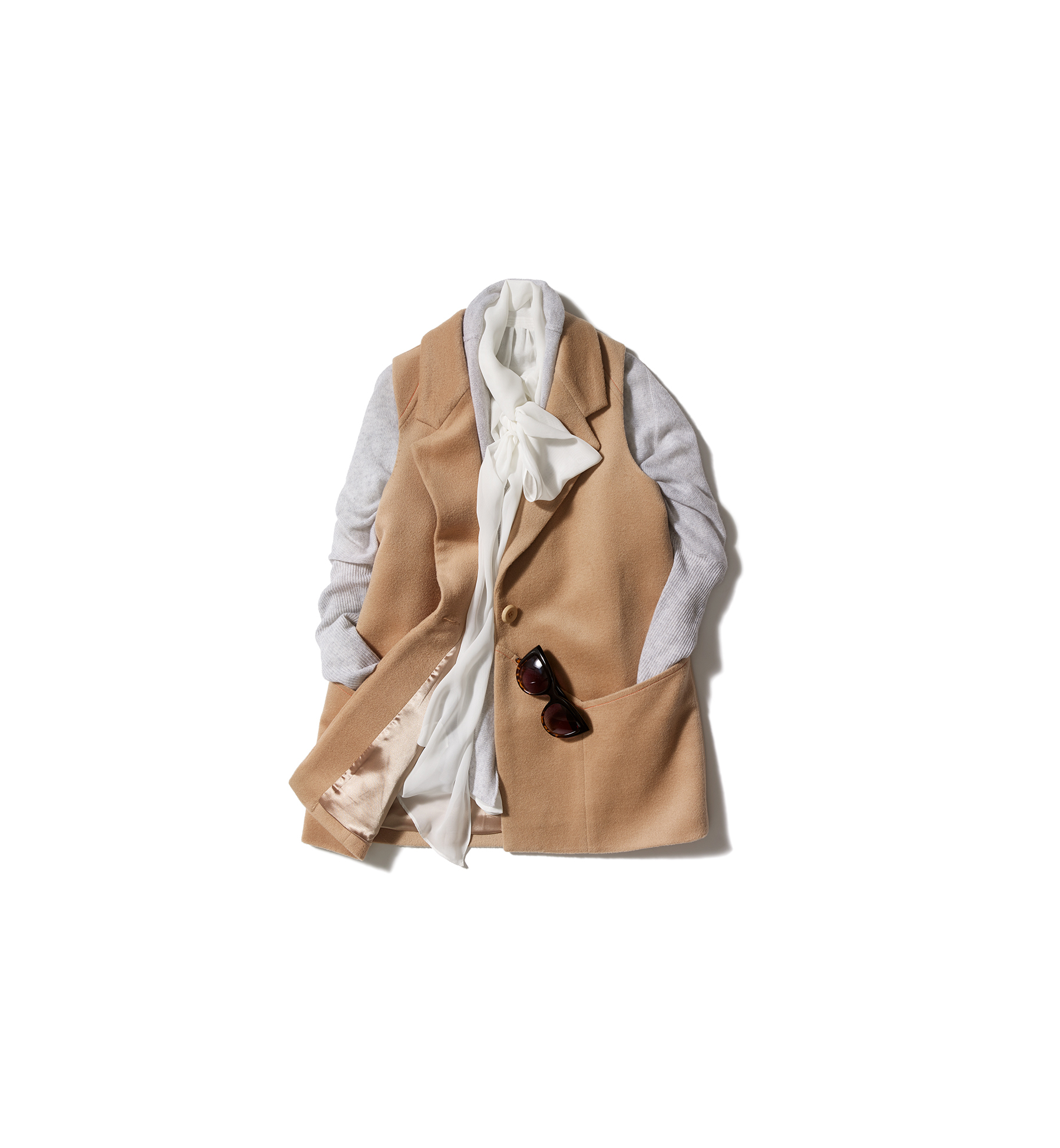Vest with cardigan and blouse