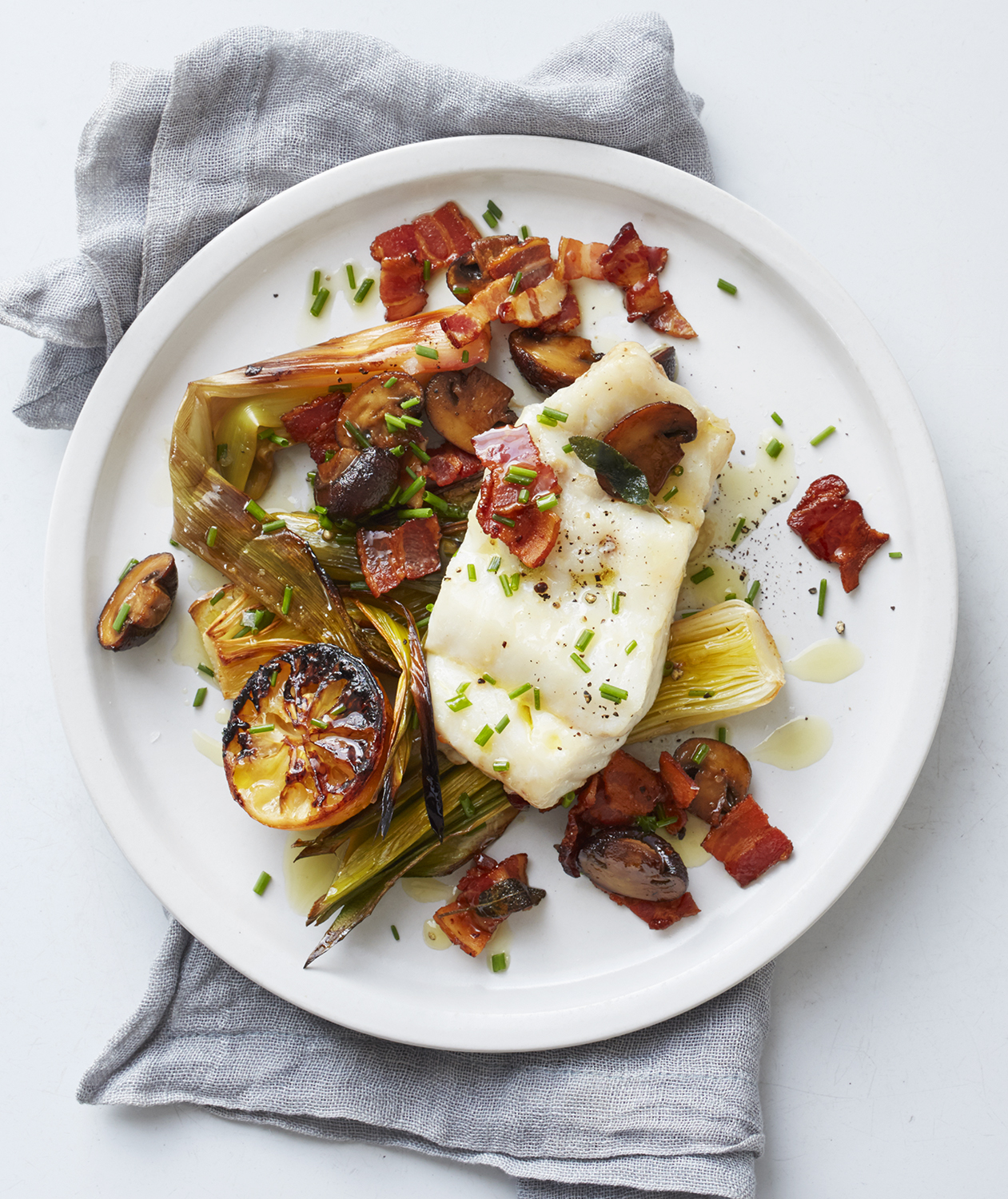 hake-bacon-leeks-mushrooms