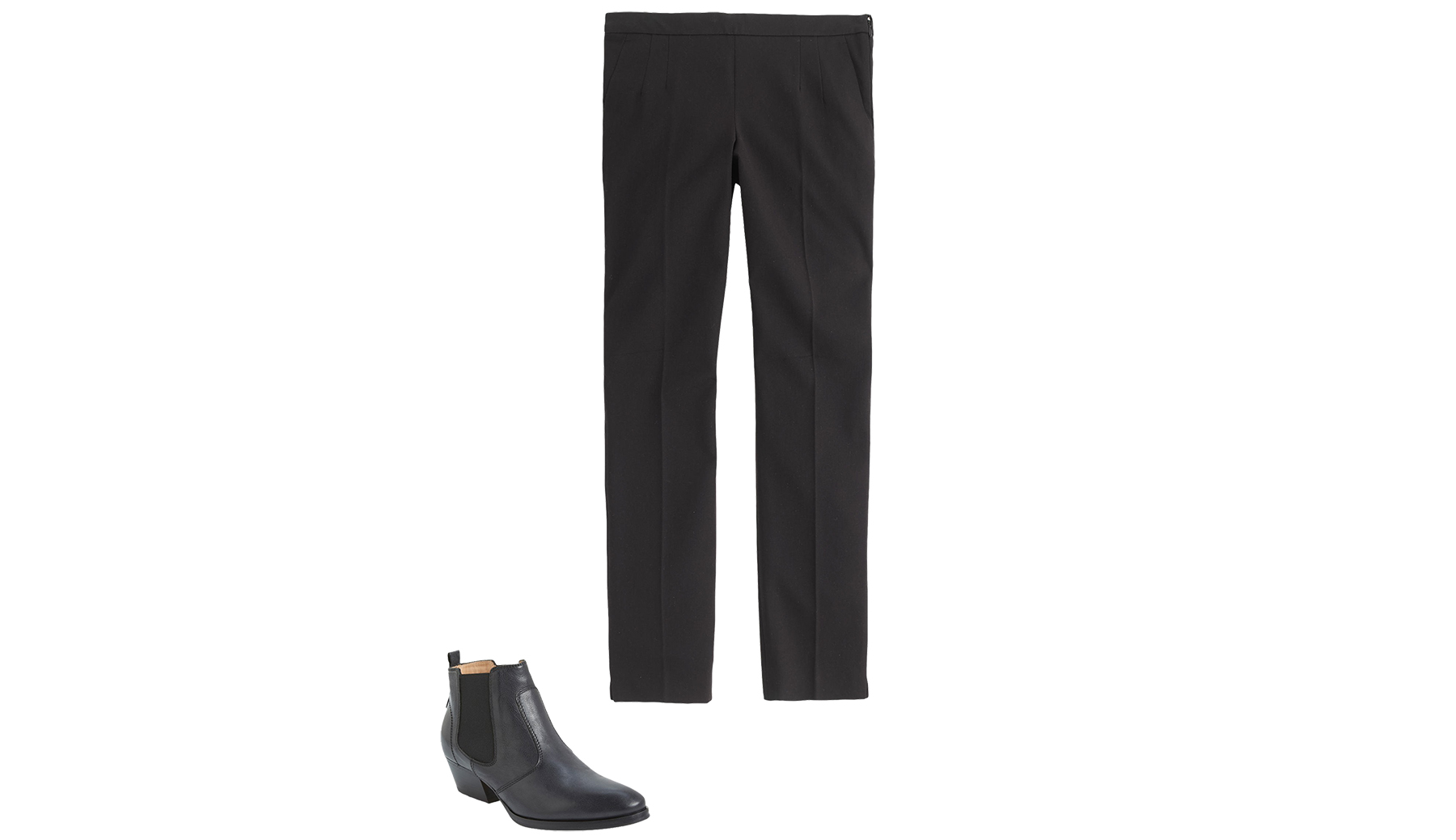 Black ankle length pants and black ankle boots