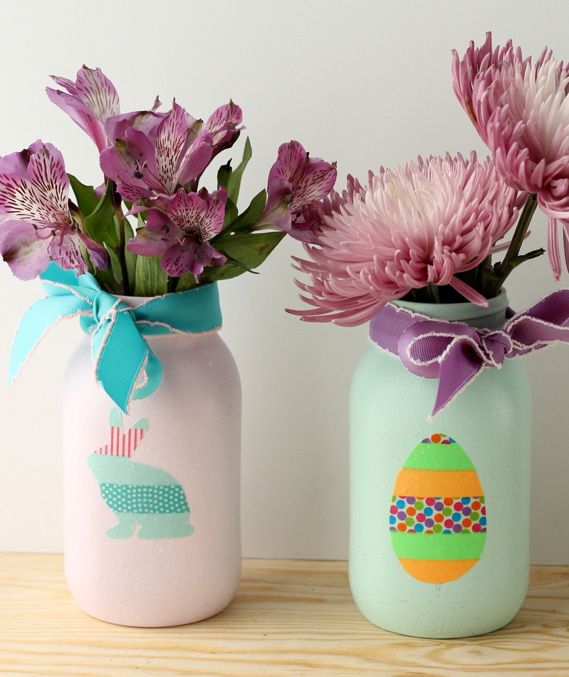 Washi Tape Easter Mason Jar
