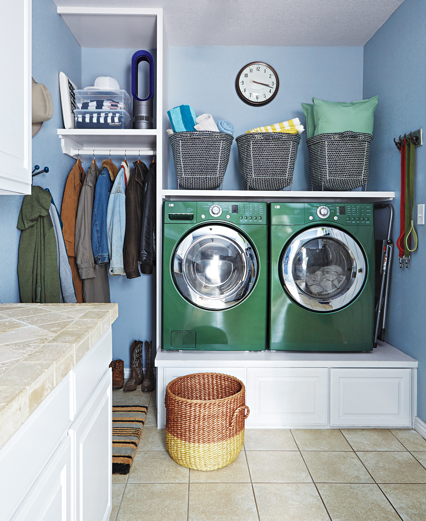 Laundry room with green washer and dryer
