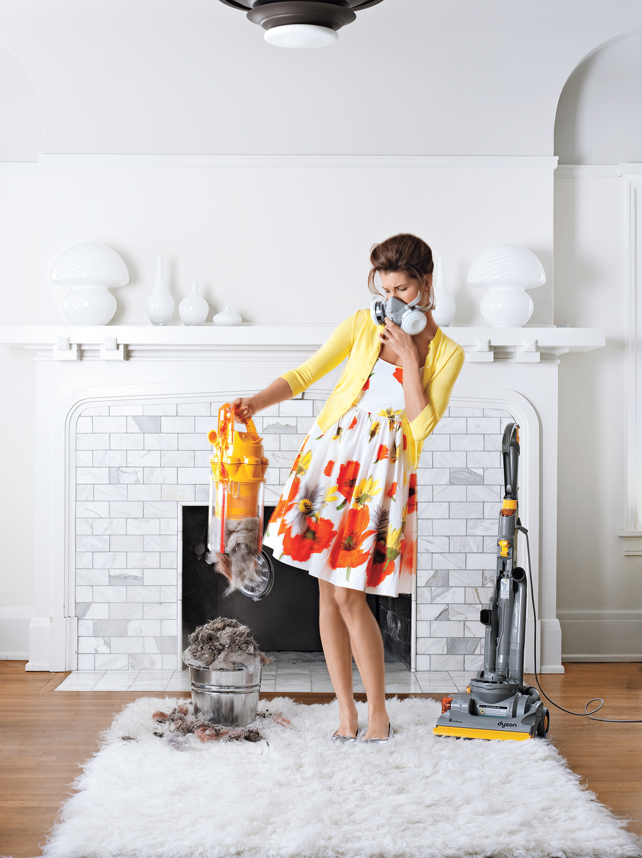 Woman with dusty vacuum