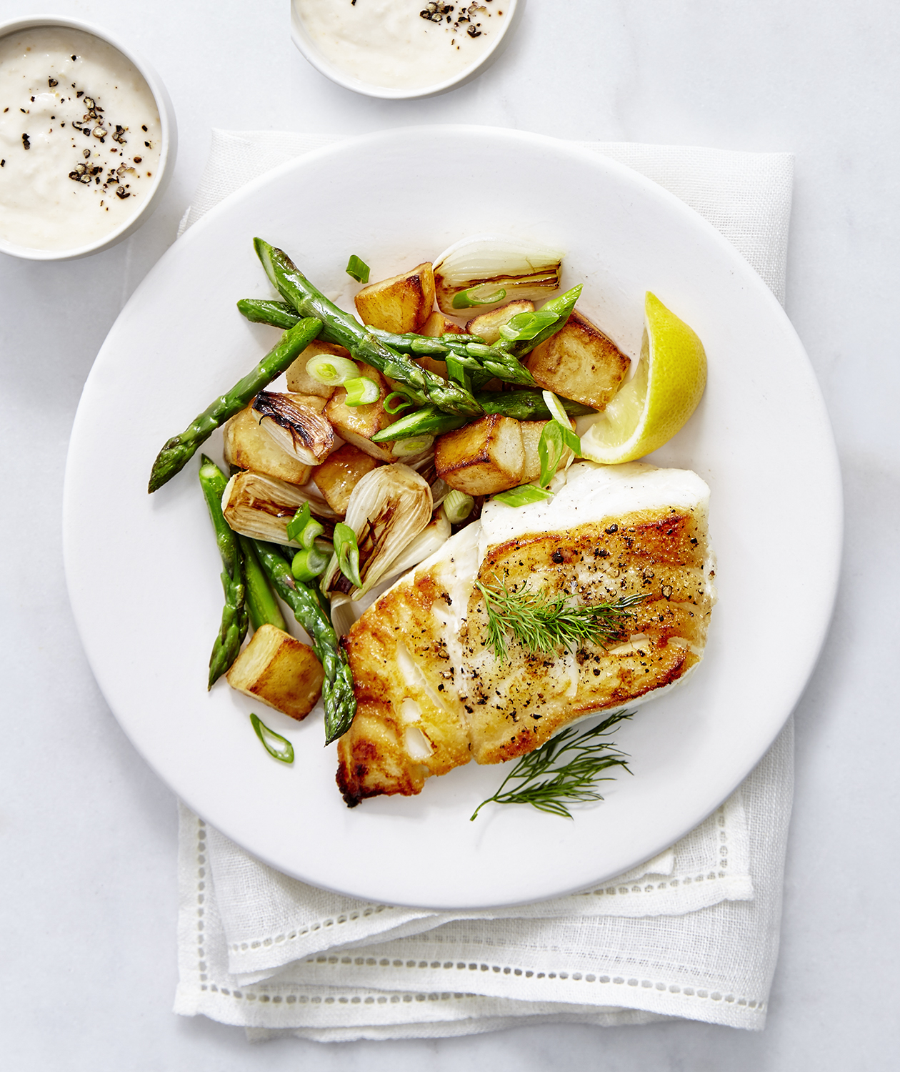 Cod with Asparagus Hash and Horseradish Sauce