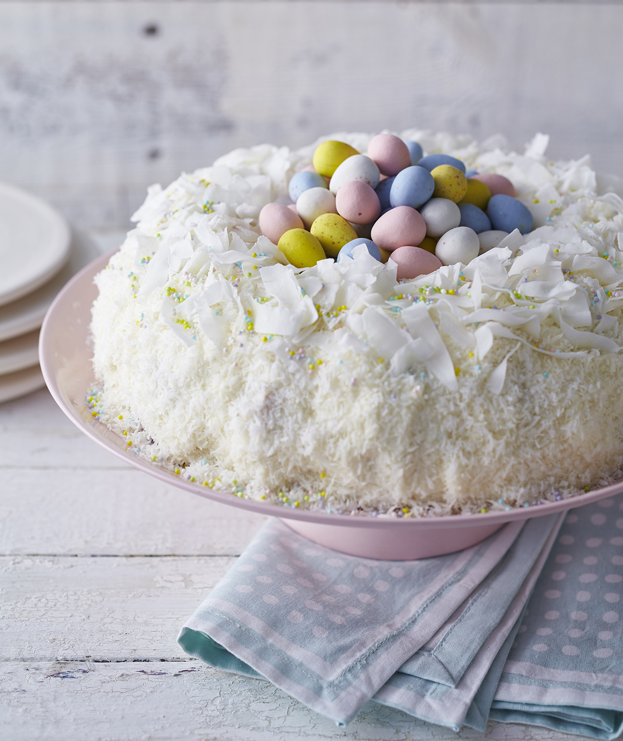 Lemon Coconut Bird's Nest Cake