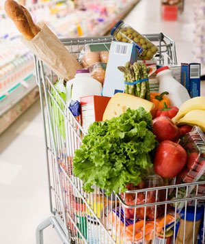 Grocery cart full of groceries - Landscape