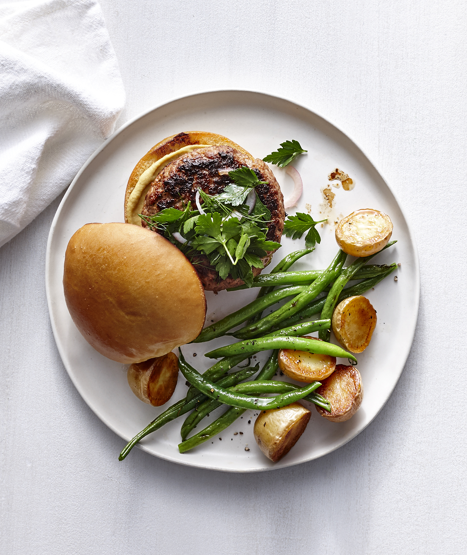 dijon-burgers-potatoes-green-beans