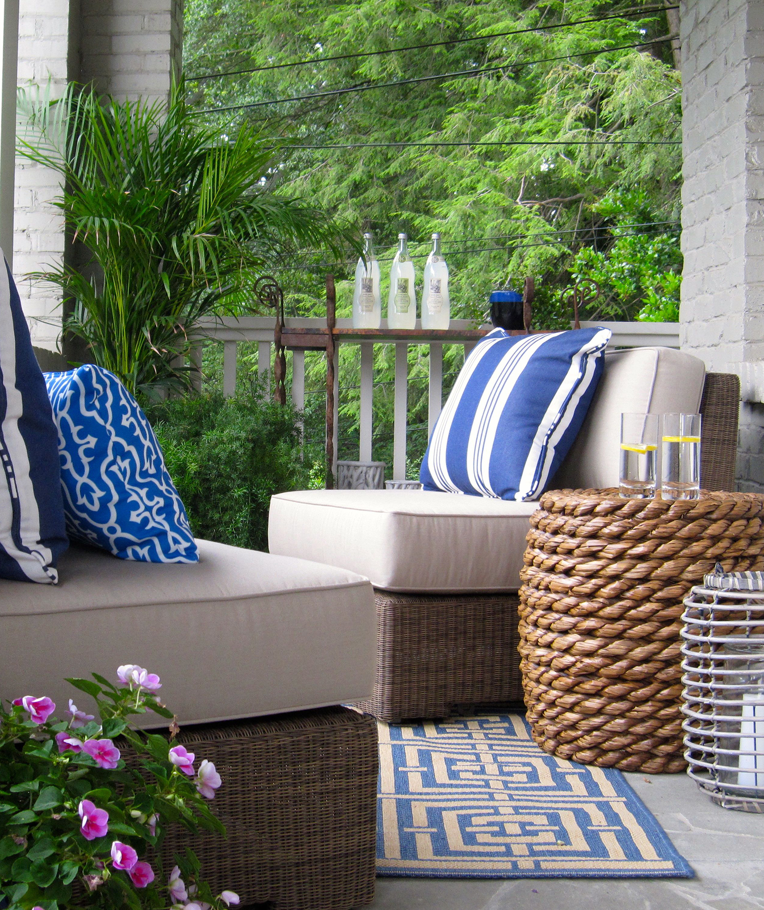 Patio with furniture and decorative pillows