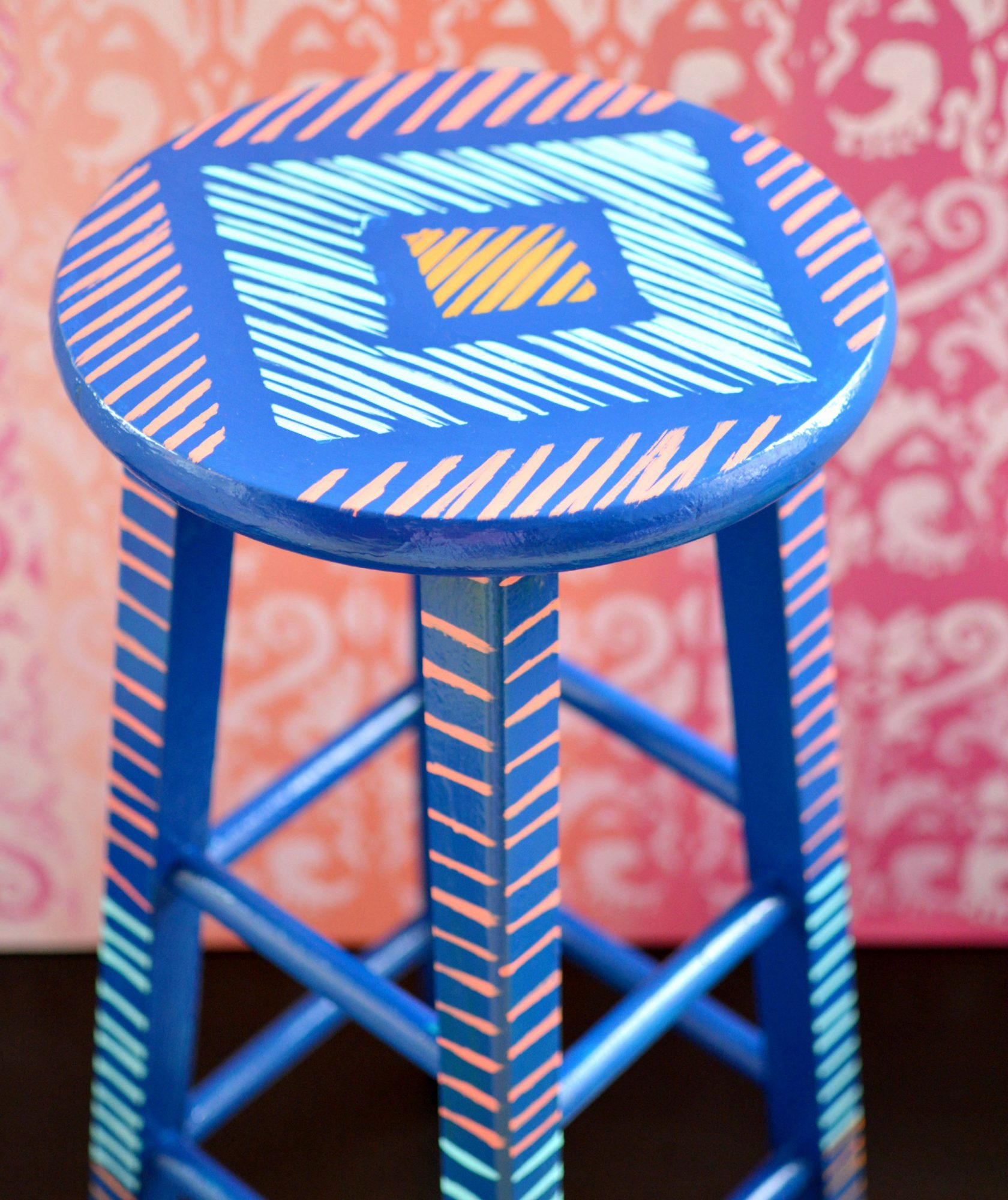 DIY painted stool