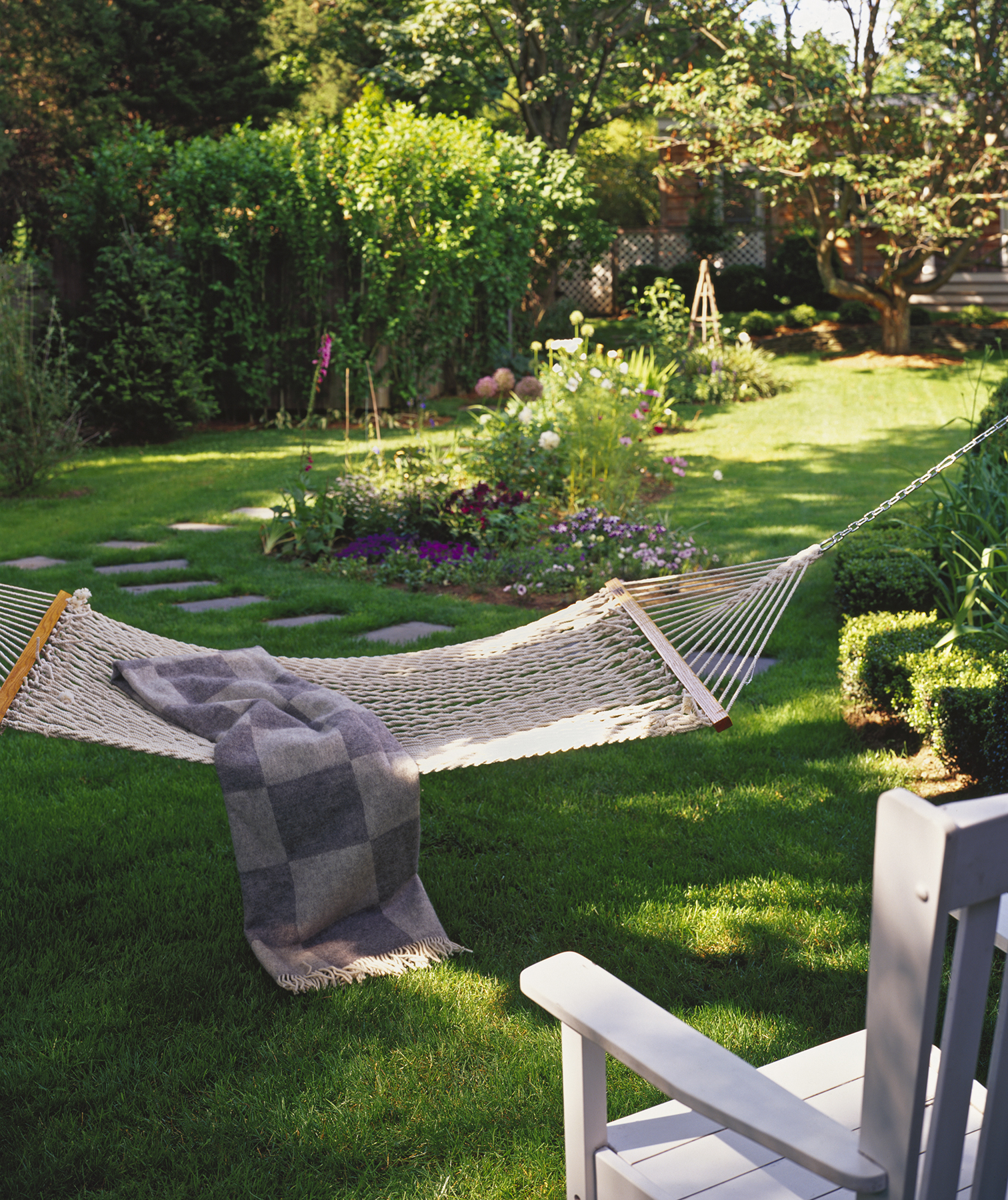 Backyard with lawn and hammock
