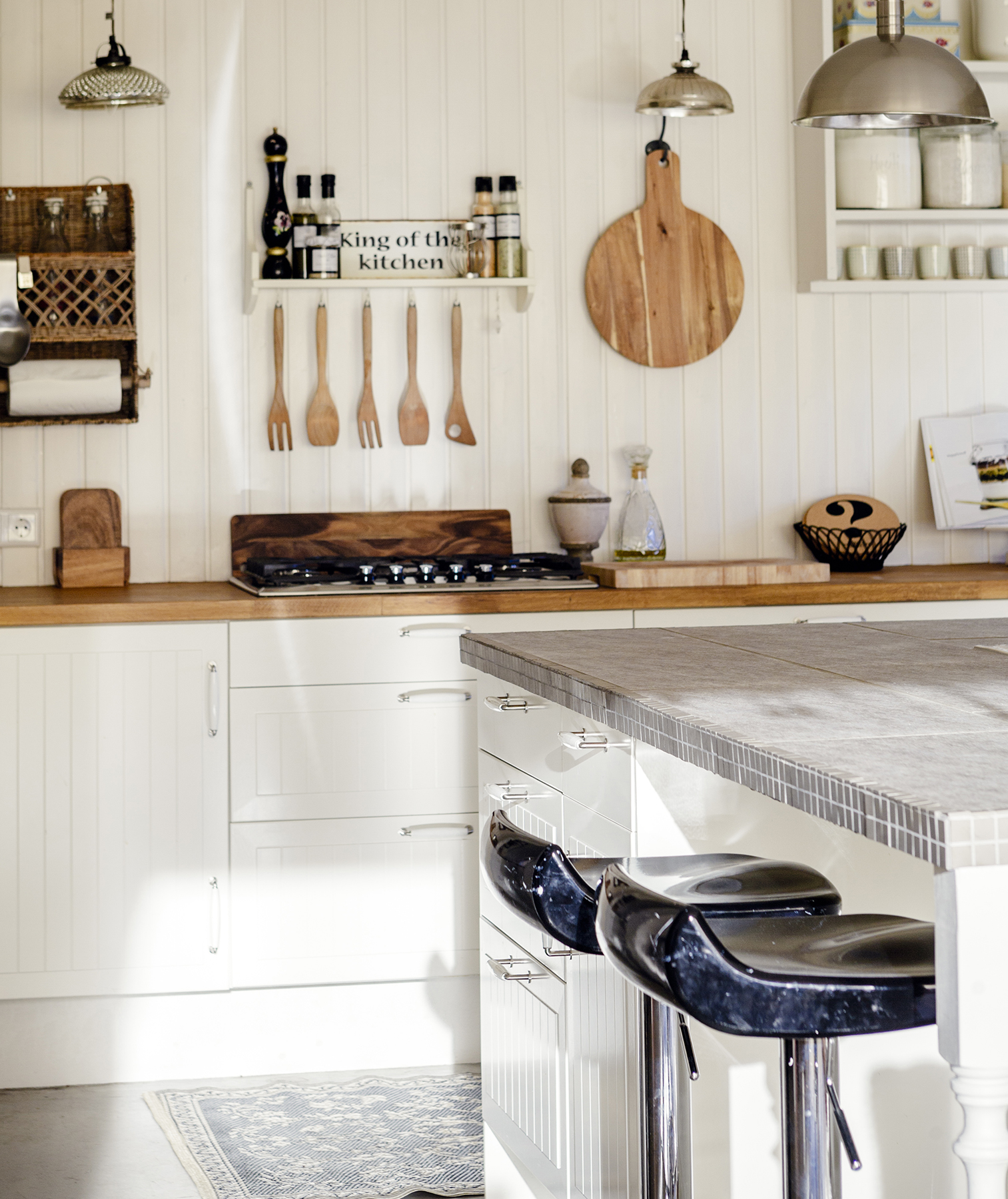 Clean kitchen with wood details