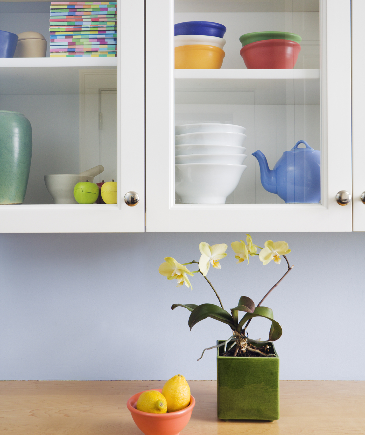 Dishes in cabinet with glass doors