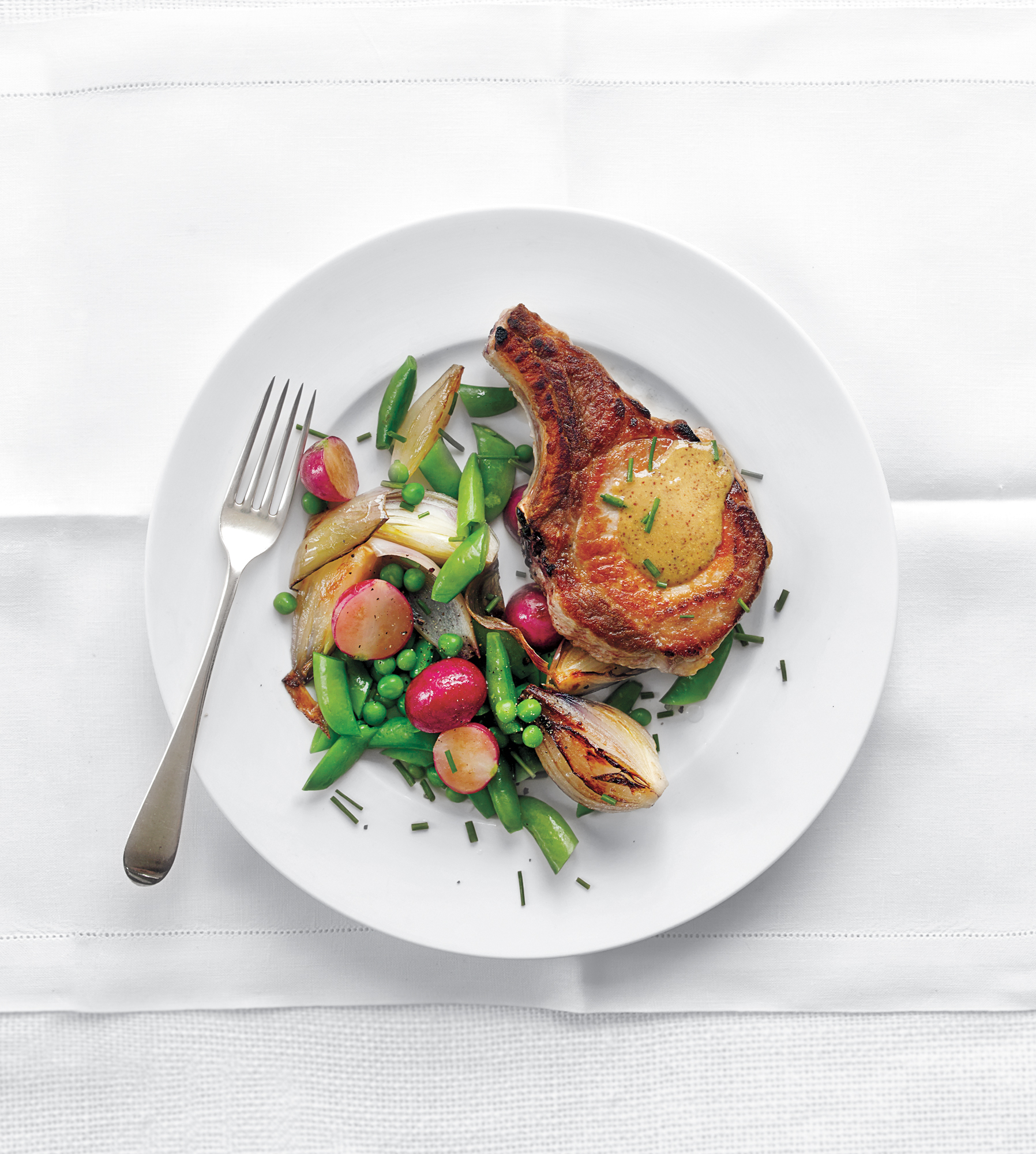 Pork Chops With Spring Vegetables and Mustardy Pan Gravy