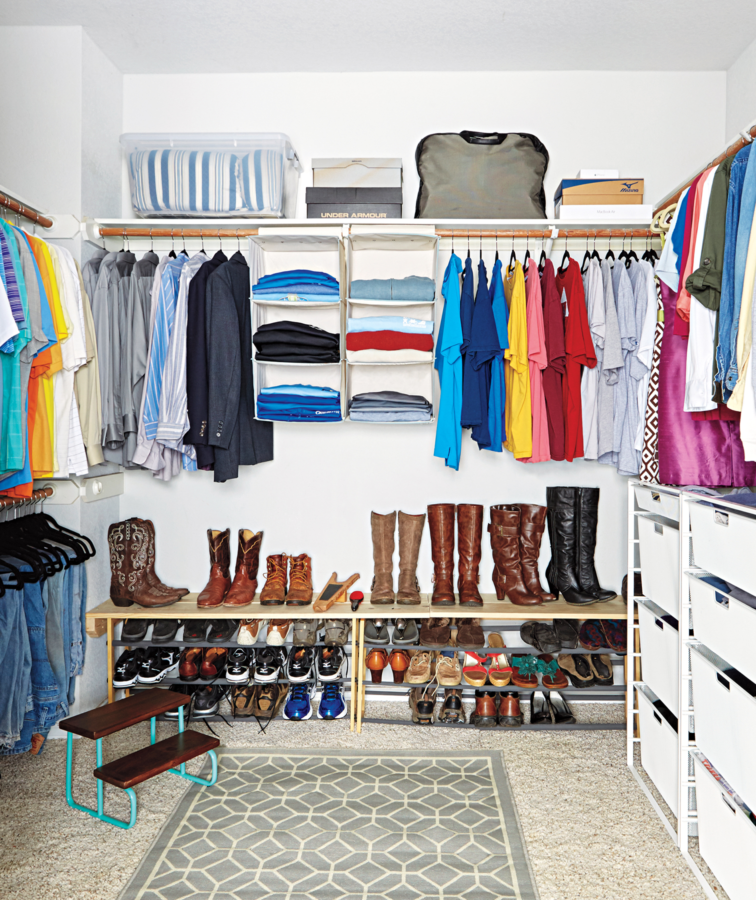 Closet with patterned rug