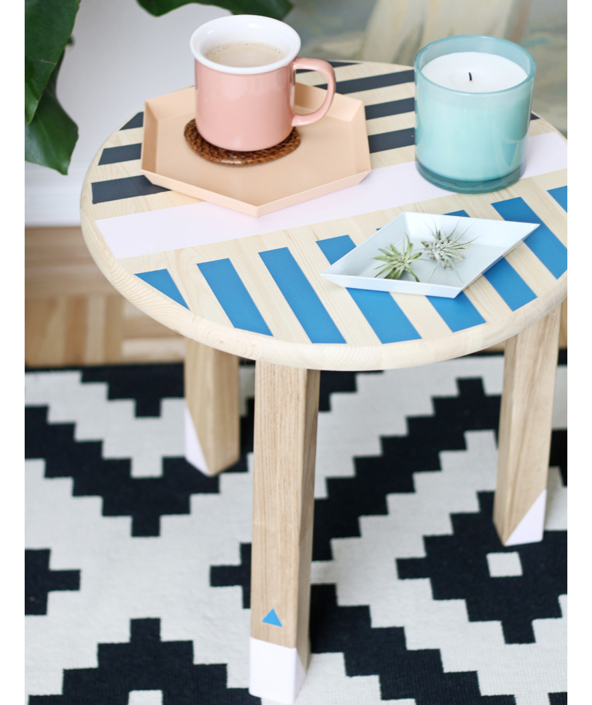 Colorful painted side table