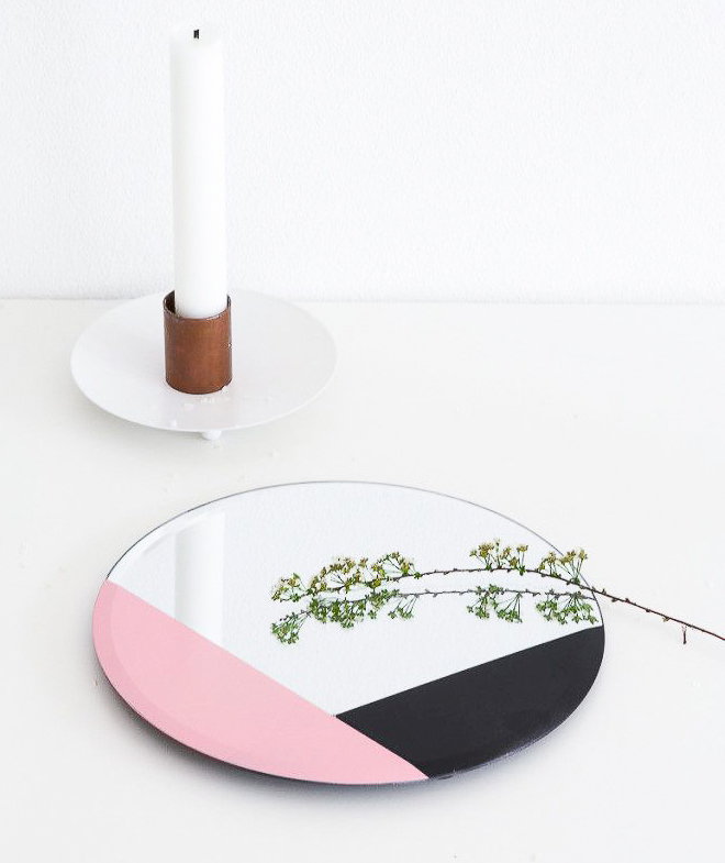 Black and pink painted mirror