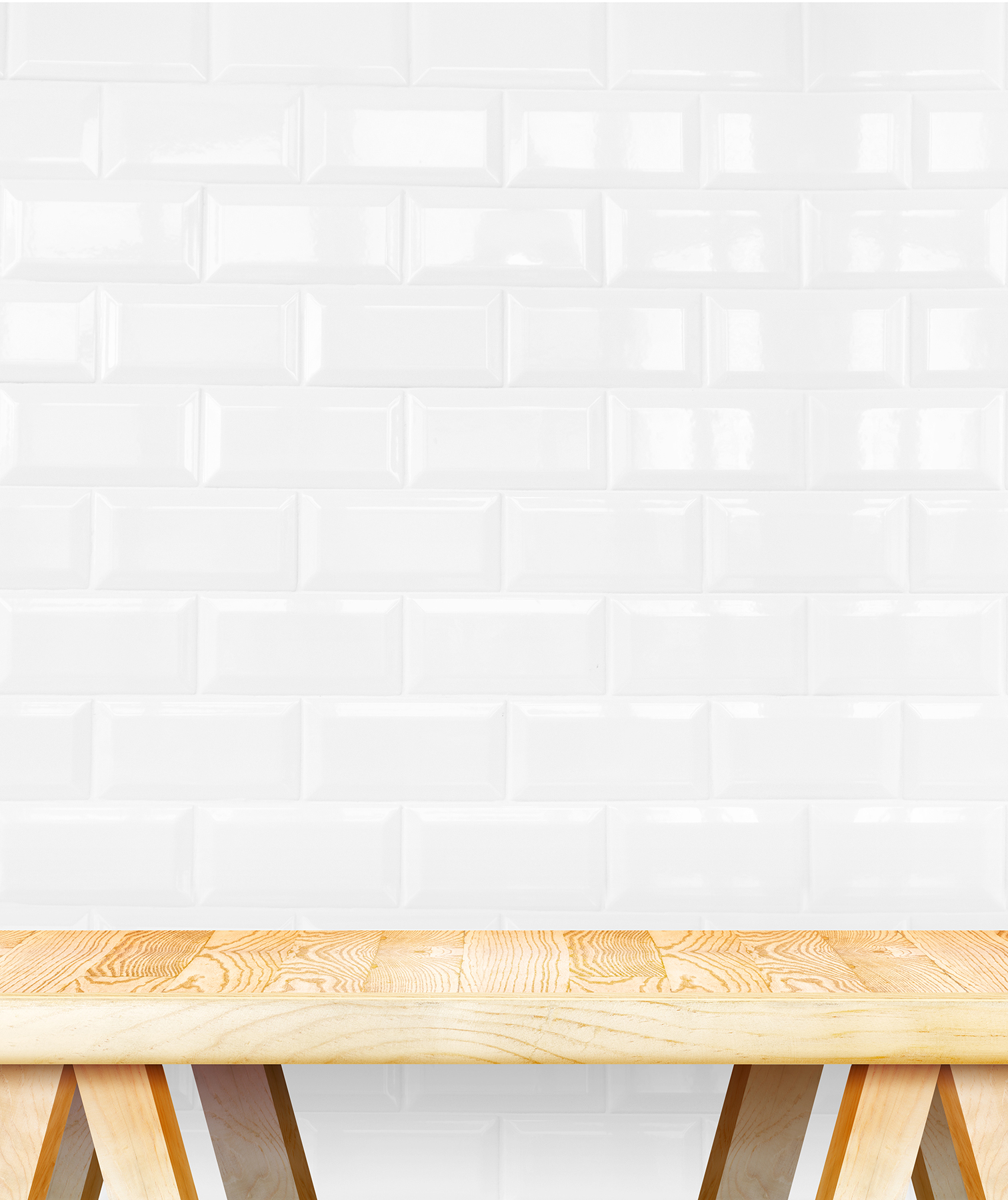 Bench in front of white ceramic tiles
