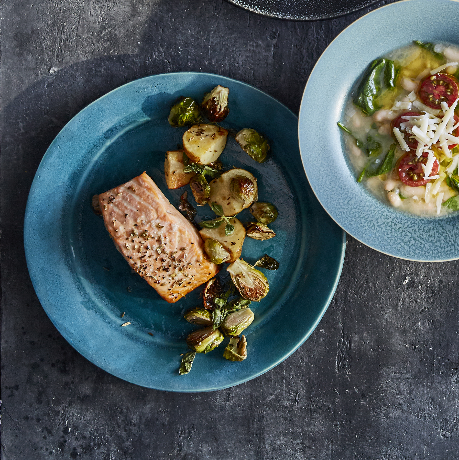 Roasted Salmon and Brussels Sprouts