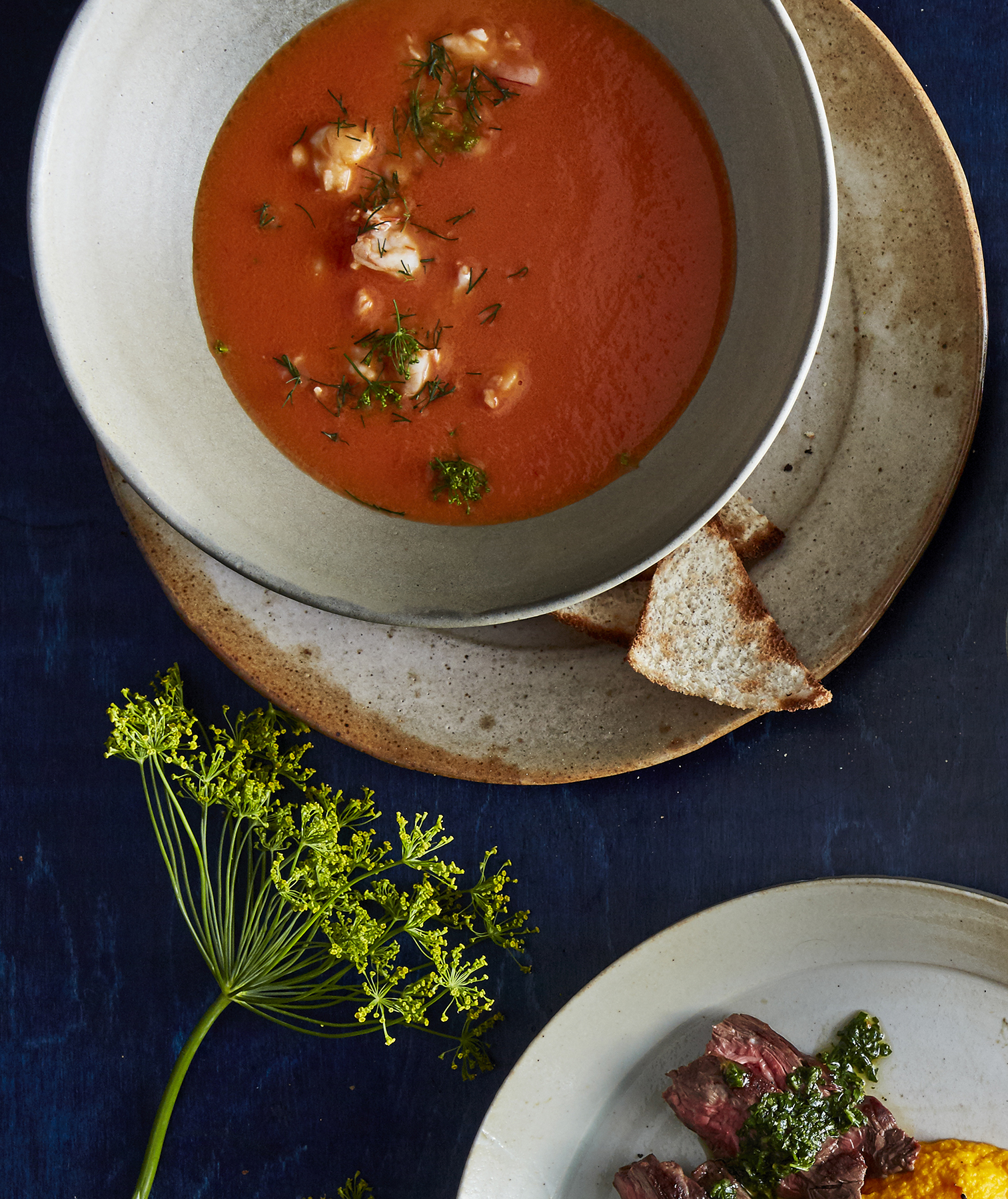 Tomato and Shrimp Bisque With Toast Points