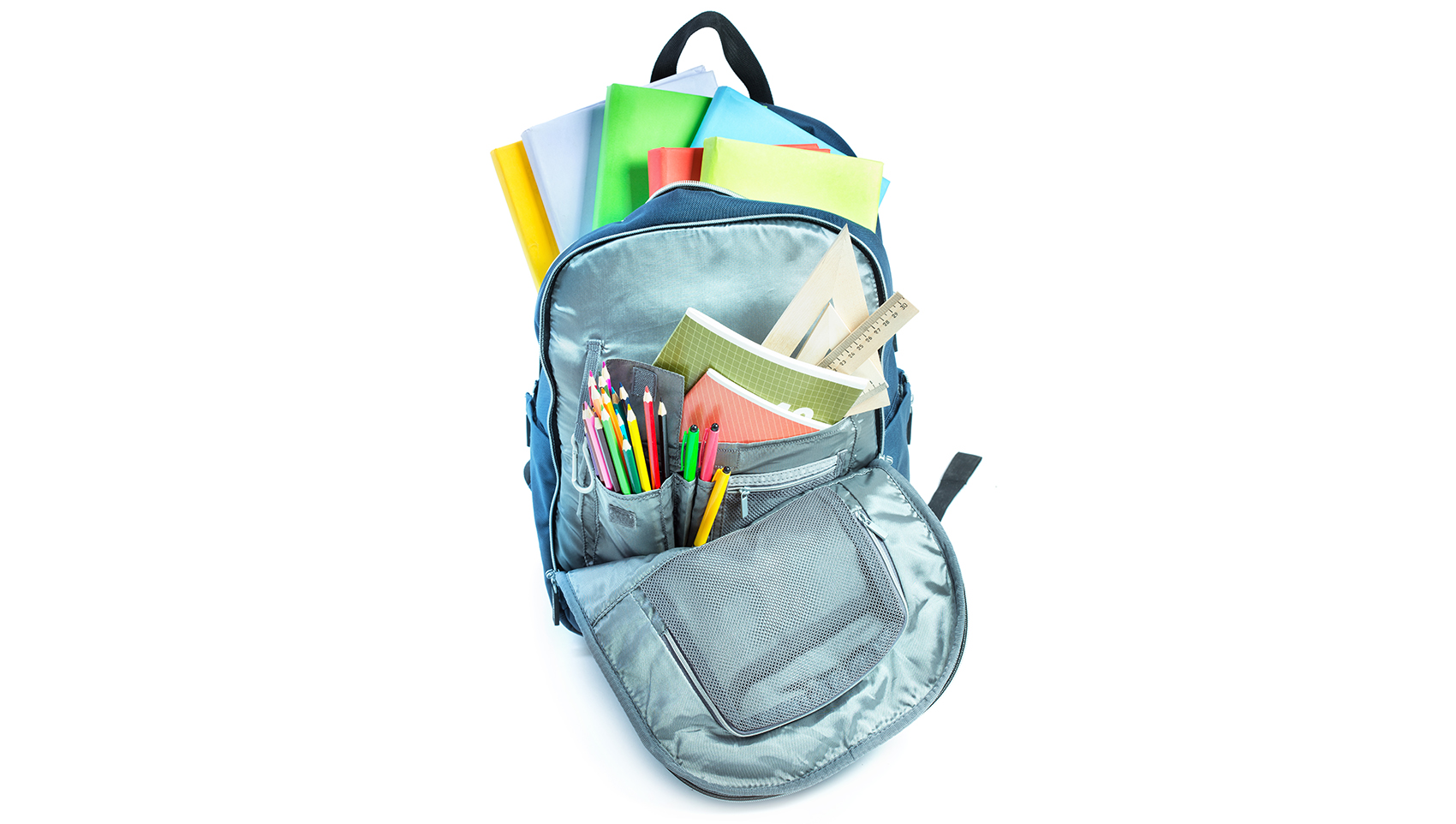 Backpack full of school supplies