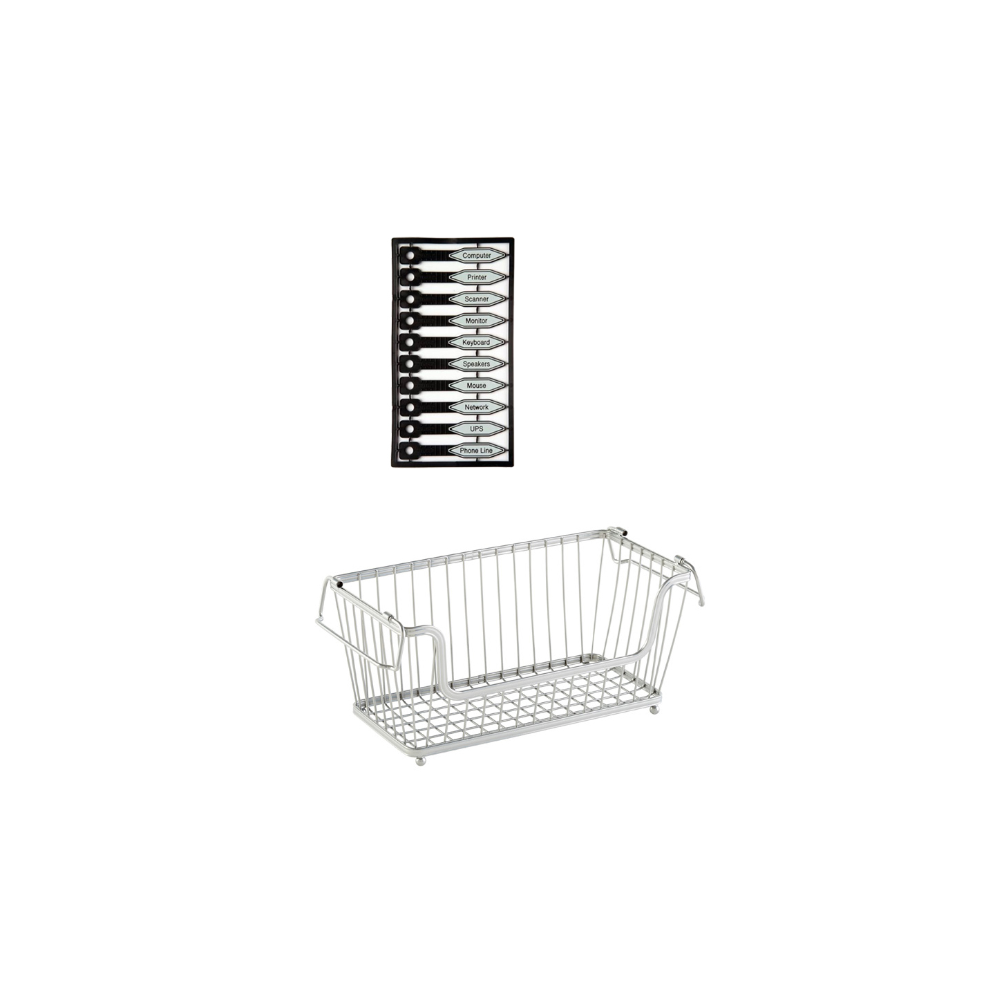 Small Silver York Open Stack Basket and Kableflags