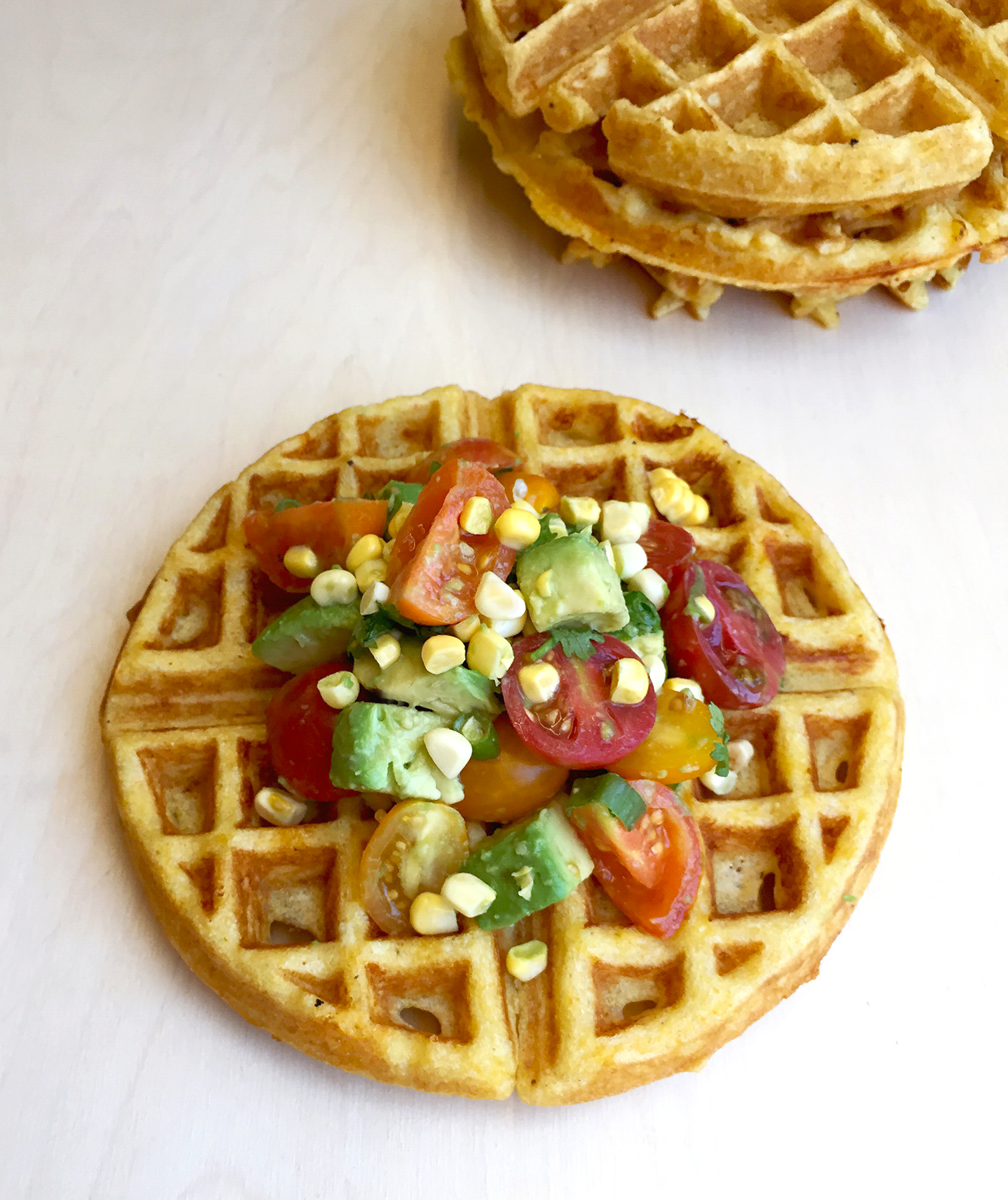Savory Cornmeal Waffles With Tomato Avocado Salsa