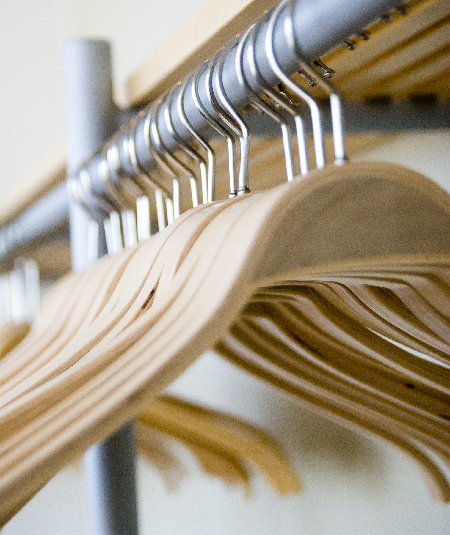 Wood hangers in a closet