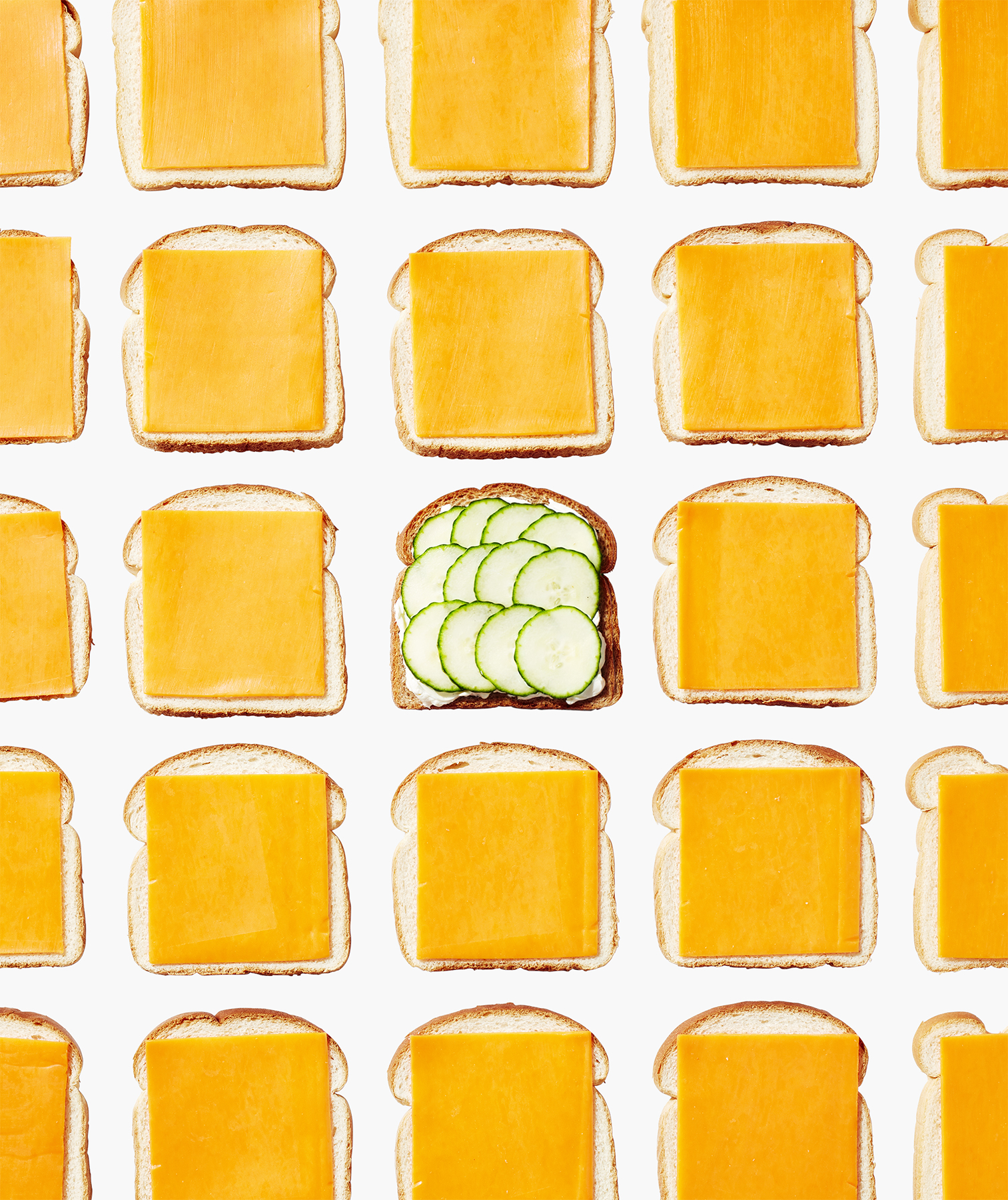 Cheese slices on bread vs. cucumber