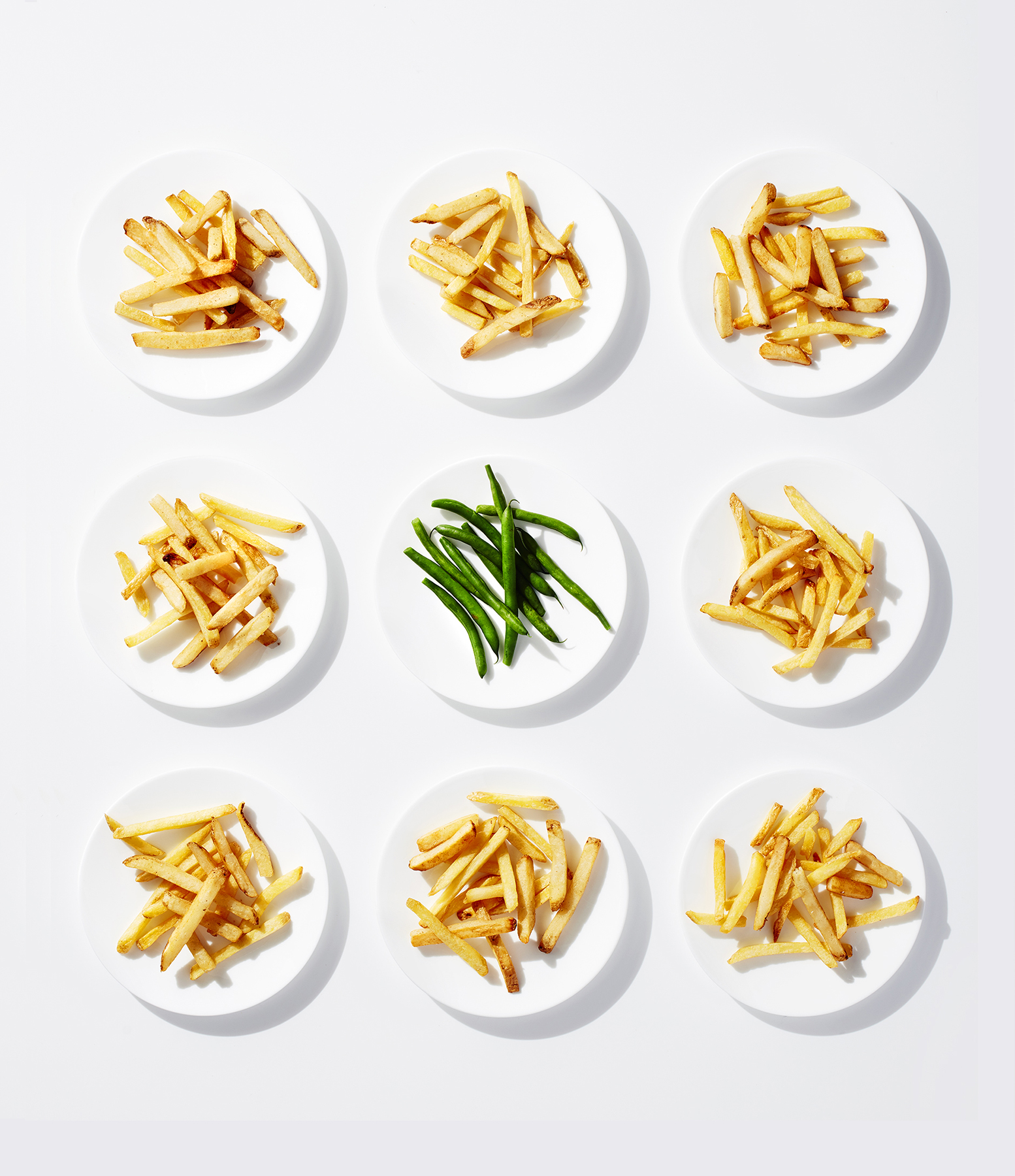 French fries and green beans