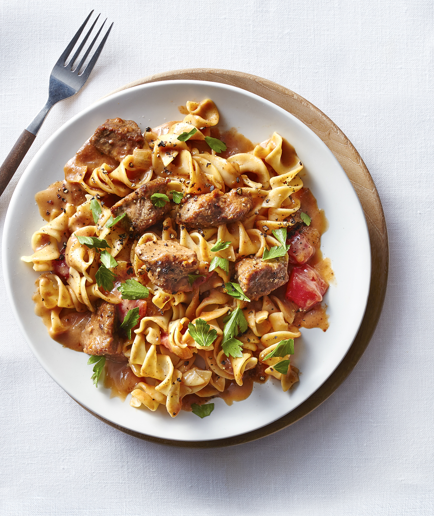 Beef Stroganoff Over Egg Noodles